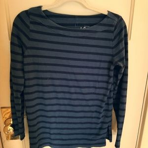 Navy and teal boatneck vintage soft top by AT LOFT